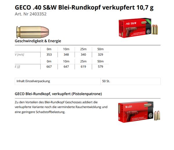 GECO .40 S&W CLRN 165grs/10,7g
