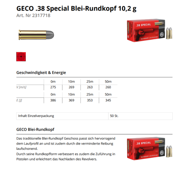 GECO .38 Special BRK 158grs