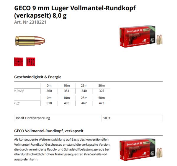 GECO 9mm Luger VM SINTOX 124grs/8g