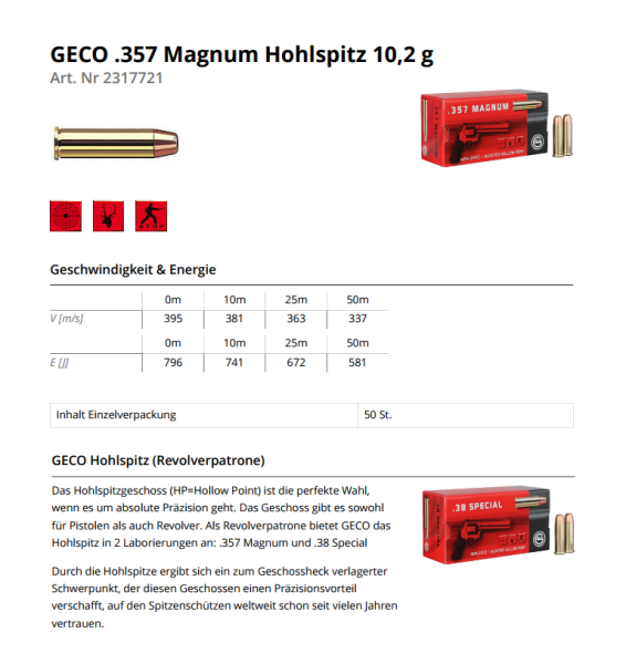 GECO .357 Magnum JHP 158 grs/10,2g