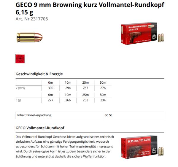 Geco 9mm Kurz Vm 50 Stk 6 2g Pistolenmunition Triebel Onlineshop