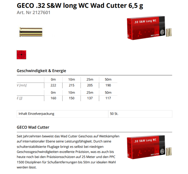 GECO .32 S&W lang WC 100grs/6,5g